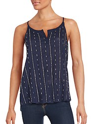 Saks Fifth Avenue Sequin Embellished Cotton Top Navy