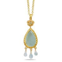 Emma Chapman Jewels Alyce Aquamarine And Diamond Pendant Blue