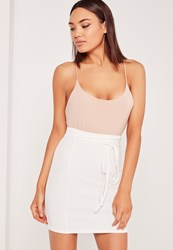 Missguided Crepe Tie Waist Mini Skirt White White