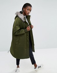 Asos White Satin A Line Parka With Faux Fur Lined Hood Khaki Green