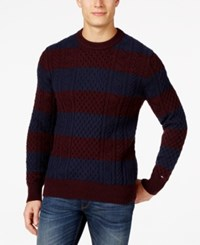 Tommy Hilfiger Big And Tall Mikey Cable Knit Rugby Stripe Sweater