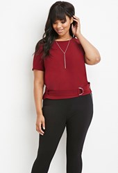 Forever 21 Plus Size Belted Texture Top Burgundy