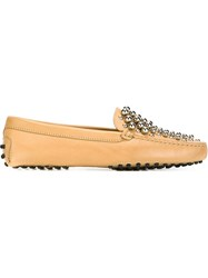 Tod's Studded Loafers Nude And Neutrals