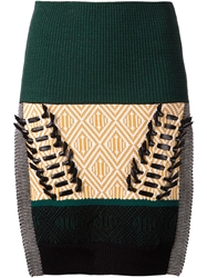 Toga Tribal Pattern Knitted Skirt Multicolour