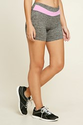 Forever 21 Active Stretch Knit Shorts Charcoal Lavender