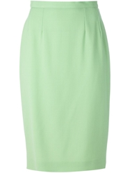 Guy Laroche Vintage Classic Pencil Skirt Green
