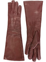 Ann Demeulemeester Classic Mid Length Gloves Red