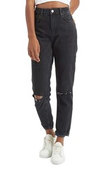 Topshop Women's Moto Mom Washed Ripped Jeans