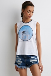 Forever 21 Et Graphic Muscle Tee White Blue