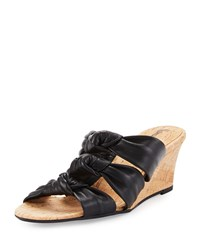Neiman Marcus Marcela Knotted Leather Wedge Sandal Black