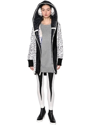 Tsumori Chisato Reversible Plush And Quilted Nylon Coat Black White