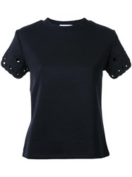 Carven Eyelet Sleeve T Shirt Black