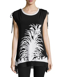 Neiman Marcus Printed Ruched Shoulder Tunic Black White
