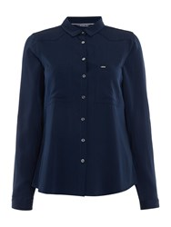 Salsa Roll Up Long Sleeve Shirt With Front Pockets Blue