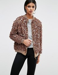 A Star Is Born Heavy Embellished Bomber Jacket Caramel Brown
