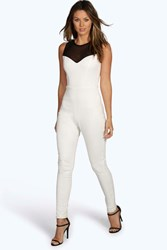 Boohoo Lace Top Skinny Jumpsuit Ivory