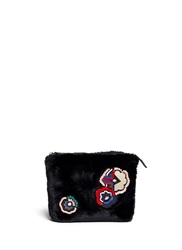 Msgm Mixed Media Embellished Faux Fur Clutch Black