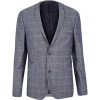 Vito River Island Mens Dark Blue Check Blazer