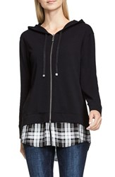 Vince Camuto Women's Two By Layer Look Front Zip Hoodie