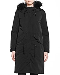 The Kooples Fur Trim Parka Black