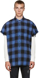 R 13 Blue Check Cut Off Shirt