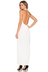 Bobi Black Luxe Liquid Jersey Halter Dress White
