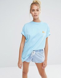 Lazy Oaf Oversized Boyfriend T Shirt With Guinea Pig Embroidery Blue