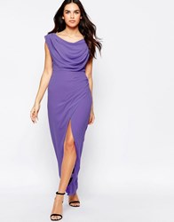 Vlabel London Priory Maxi Dress With Split Lilac Purple