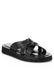 Saks Fifth Avenue Cross Strap Leather Sandals Black