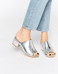 Truffle Collection Mid Heel Mules Silver