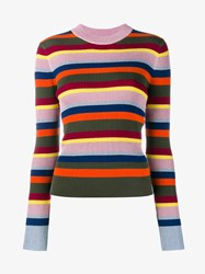 House Of Holland Merino Wool Blend Metallic Stripe Jumper Multi Coloured Grey
