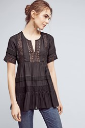 Anthropologie Tiered Lace Tunic Black