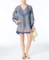 Jessica Simpson Dusty Road Printed Lace Trim Tunic Cover Up Women's Swimsuit Periwinkle Multi