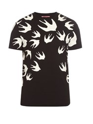 Mcq By Alexander Mcqueen Swallow Print Cotton T Shirt Black Multi