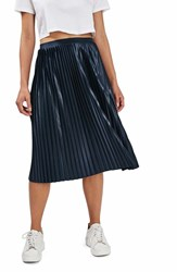 Topshop Women's Pleat Jersey Midi Skirt Navy Blue