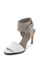 Vince Antonia Mid Heel Sandals White Woodsmoke