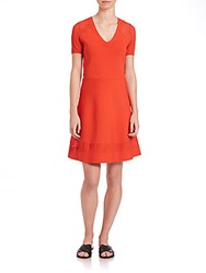 Set Fit And Flare V Neck Dress Coral