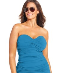 Anne Cole Plus Size Twist Front Tankini Top Women's Swimsuit Sky Blue