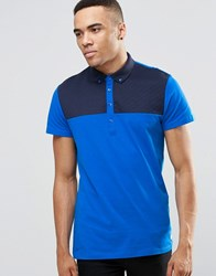 Jack And Jones Polo Shirt With Quilted Yoke Panel Blue