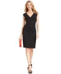 Connected Cap Sleeve Sequined Lace Dress Silver