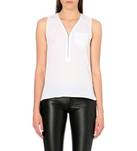 The Kooples Silk Tank Top With Zip White