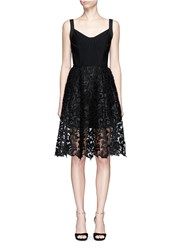 Oscar De La Renta Baroque Guipure Lace Skirt Overlay Corset Dress Black
