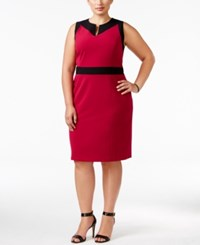 Nine West Plus Size Taylor Contrast Trim Sheath Dress Dark Pink