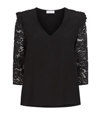 Claudie Pierlot Believe Lace Sleeve Top Female Black