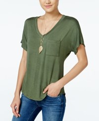 Belle Du Jour Juniors' V Neck T Shirt With Necklace Army Green