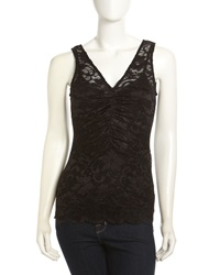 Velvet By Graham And Spencer Ruched Lace Sleeveless Top Black