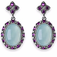 Platadepalo Chalcedony Silver Earrings With Zircon Stones Blue White