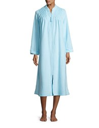 Miss Elaine Embroidered Mumu Duster Robe Green