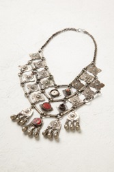 Free People Womens Vintage Silver Red Bead Necklace