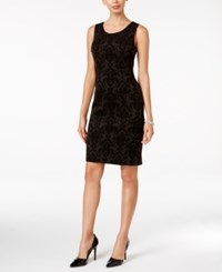 Kasper Velvet Flocked Scuba Sheath Dress Black